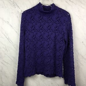 Metrostyle Purple Lace Mock Turtleneck, Size L